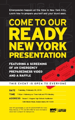 PTA Meeting and Town Hall Meeting  Featuring Ready New York Emergency Preparedness screening